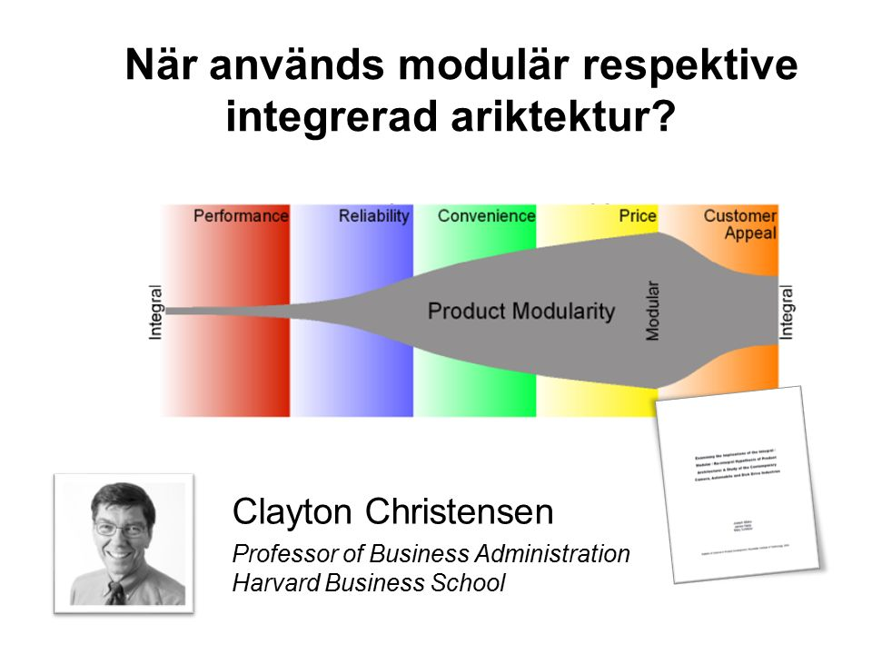 När används modulär respektive integrerad ariktektur? Clayton Christensen Professor of Business Administration Harvard Business School