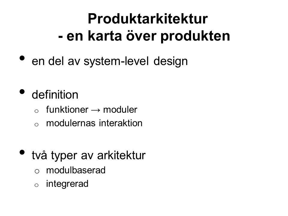 Produktarkitektur - en karta över produkten en del av system-level design definition o funktioner → moduler o modulernas interaktion två typer av arkitektur o modulbaserad o integrerad