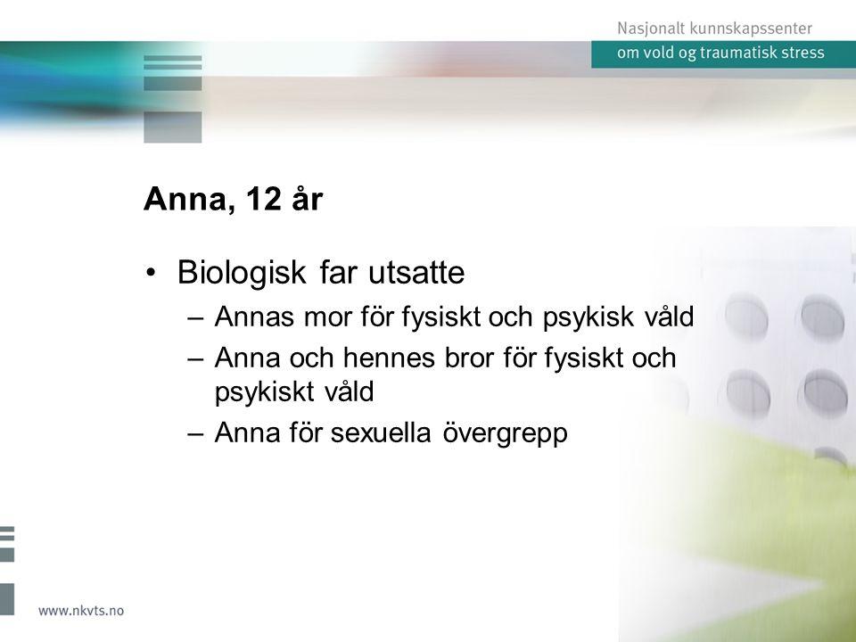 Anna, 12 år Biologisk far utsatte –Annas mor för fysiskt och psykisk våld –Anna och hennes bror för fysiskt och psykiskt våld –Anna för sexuella övergrepp