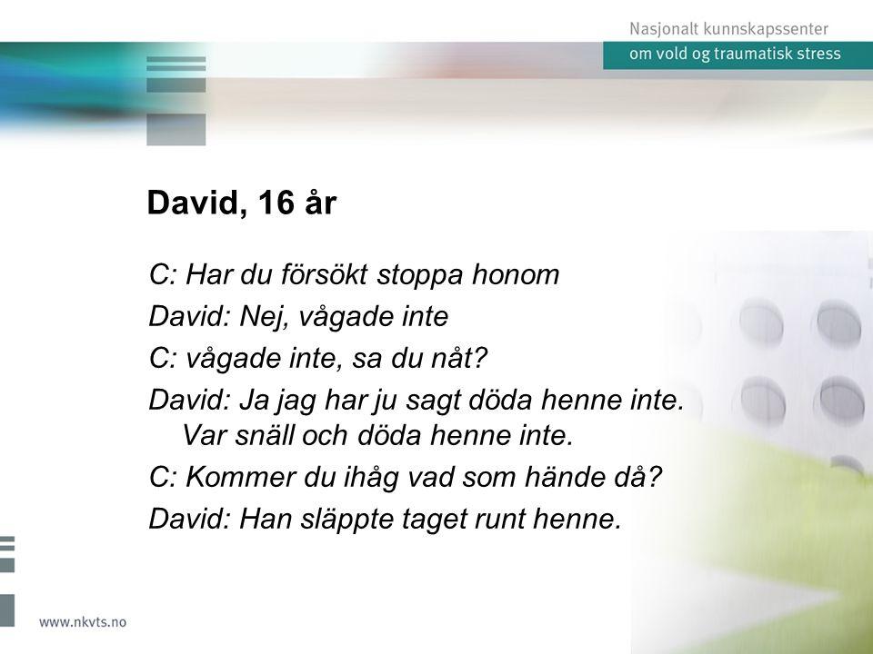 David, 16 år C: Har du försökt stoppa honom David: Nej, vågade inte C: vågade inte, sa du nåt.