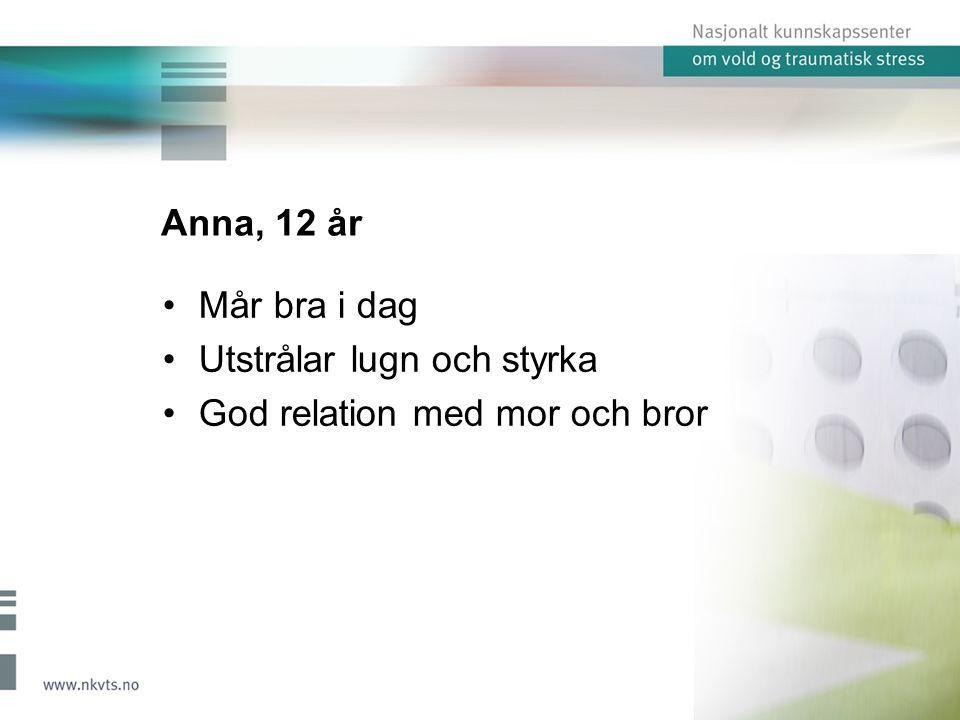 Anna, 12 år Mår bra i dag Utstrålar lugn och styrka God relation med mor och bror