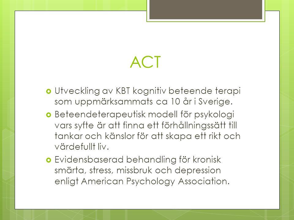 ACT  Utveckling av KBT kognitiv beteende terapi som uppmärksammats ca 10 år i Sverige.