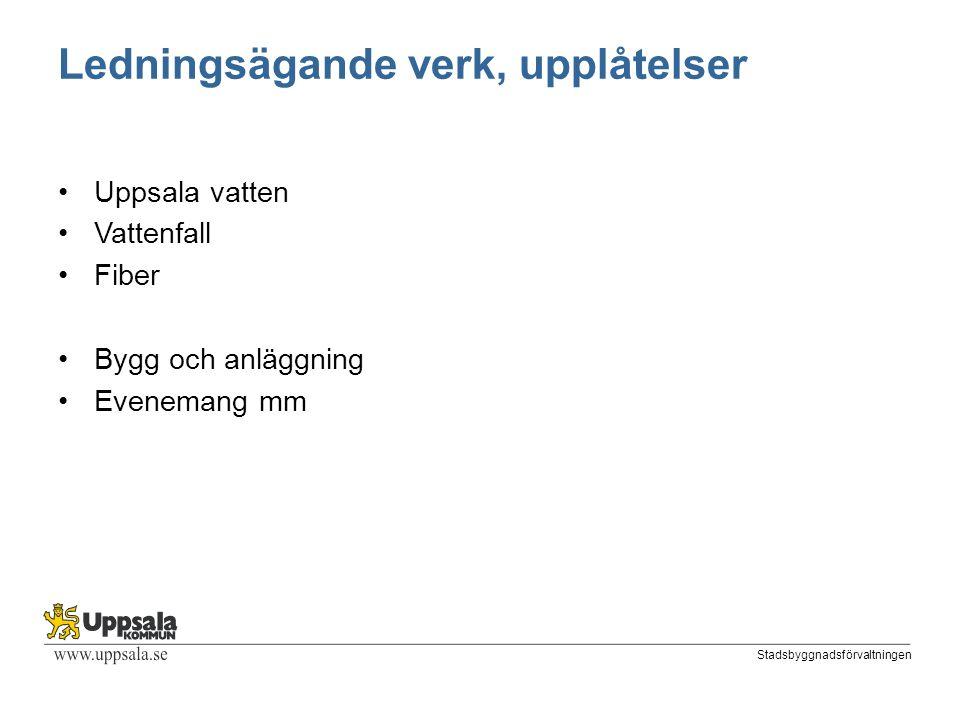 Stadsbyggnadsförvaltningen Ledningsägande verk, upplåtelser Uppsala vatten Vattenfall Fiber Bygg och anläggning Evenemang mm