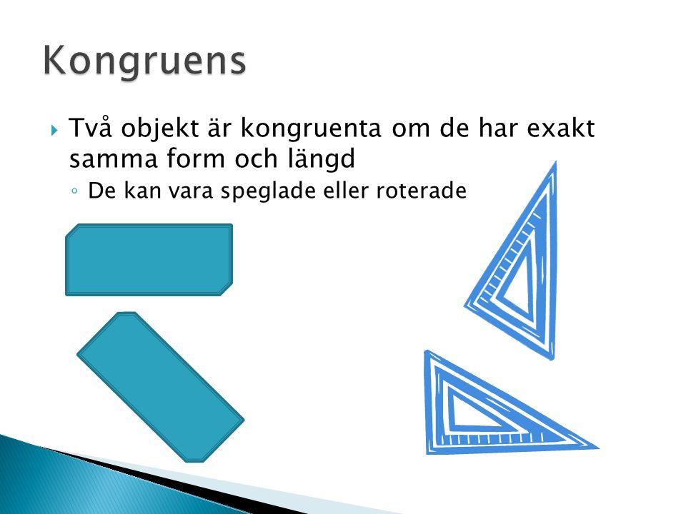  Två objekt är kongruenta om de har exakt samma form och längd ◦ De kan vara speglade eller roterade