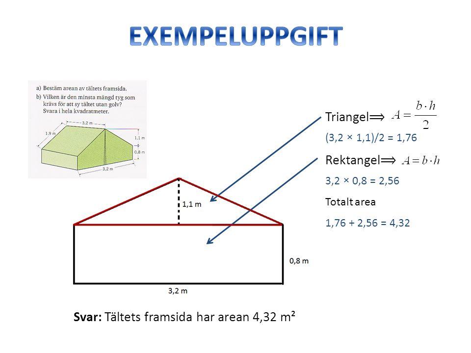 3,2 × 0,8 = 2,56 (3,2 × 1,1)/2 = 1,76 1,76 + 2,56 = 4,32 Triangel ⟹ Rektangel ⟹ Totalt area Svar: Tältets framsida har arean 4,32 m²
