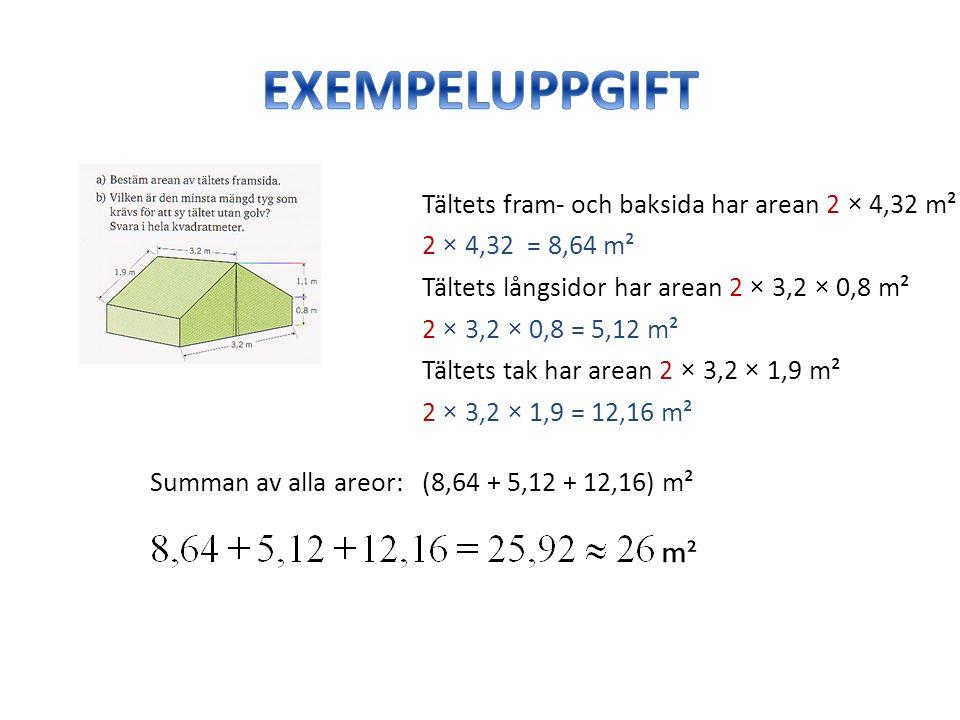 Tältets fram- och baksida har arean 2 × 4,32 m² 2 × 4,32 = 8,64 m² Tältets långsidor har arean 2 × 3,2 × 0,8 m² Tältets tak har arean 2 × 3,2 × 1,9 m² 2 × 3,2 × 0,8 = 5,12 m² 2 × 3,2 × 1,9 = 12,16 m² Summan av alla areor: (8,64 + 5,12 + 12,16) m² m²