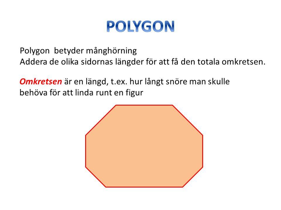 Polygon betyder månghörning Addera de olika sidornas längder för att få den totala omkretsen. Omkretsen är en längd, t.ex. hur långt snöre man skulle
