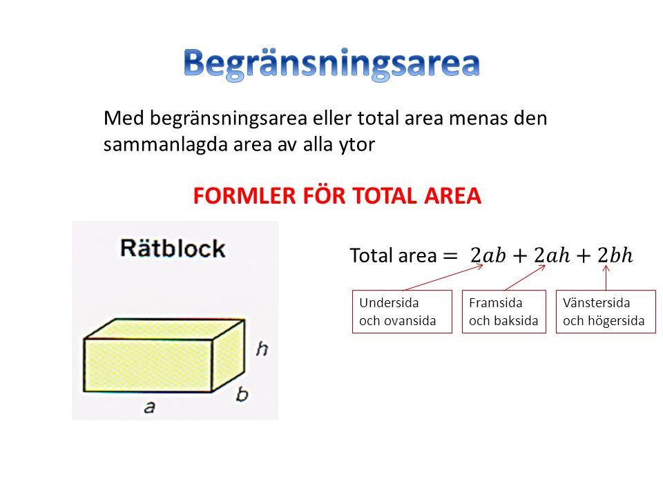 Med begränsningsarea eller total area menas den sammanlagda area av alla ytor Undersida och ovansida Framsida och baksida Vänstersida och högersida FORMLER FÖR TOTAL AREA