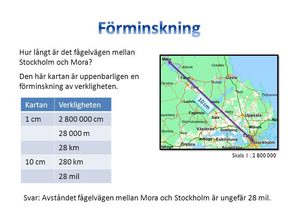Hur långt är det fågelvägen mellan Stockholm och Mora? Skala 1 : 2 800 000 KartanVerkligheten 1 cm2 800 000 cm 28 000 m 28 km 10 cm280 km 28 mil Den h