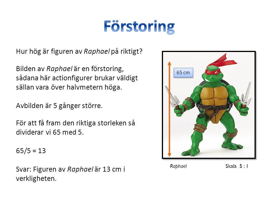 65 cm Raphael Skala 5 : 1 Hur hög är figuren av Raphael på riktigt.