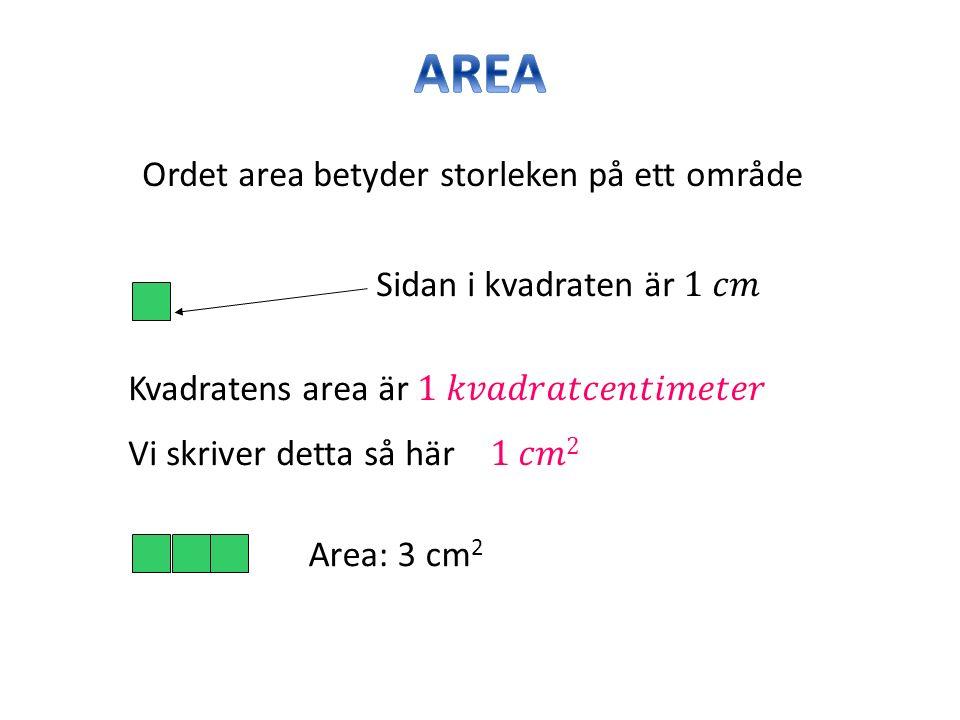 Ordet area betyder storleken på ett område Area: 3 cm 2