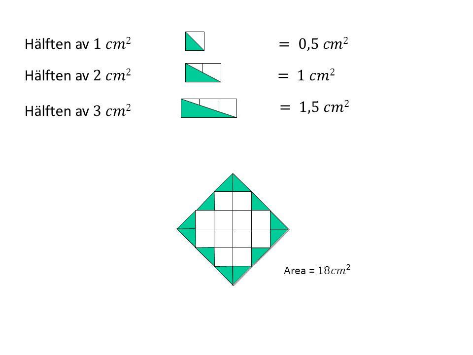 Om man känner till längden och bredden i en rektangel kan man lätt räkna ut area 4 cm 3 cm Längs bredden får det plats 3 cm 2 4 kolumner med 3 cm 2 i varje kolumn Rektangels area = längden.