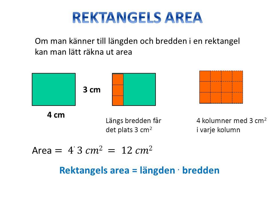 Om man känner till längden och bredden i en rektangel kan man lätt räkna ut area 4 cm 3 cm Längs bredden får det plats 3 cm 2 4 kolumner med 3 cm 2 i