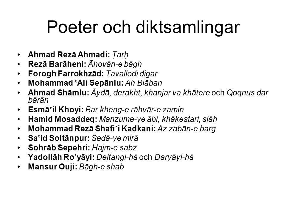 Poeter och diktsamlingar Ahmad Rezā Ahmadi: Tarh Rezā Barāheni: Āhovān-e bāgh Forogh Farrokhzād: Tavallodi digar Mohammad ' Ali Sepānlu: Āh Biāban A