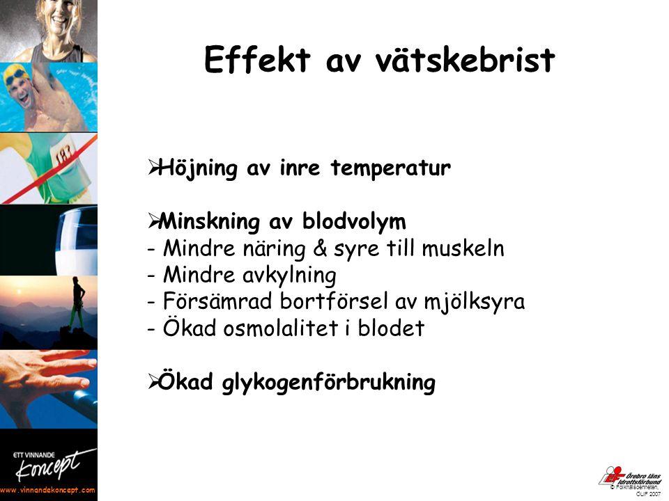 www.vinnandekoncept.com © Folkhälsoenheten, ÖLIF 2007 Effekt av vätskebrist  Höjning av inre temperatur  Minskning av blodvolym - Mindre näring & sy