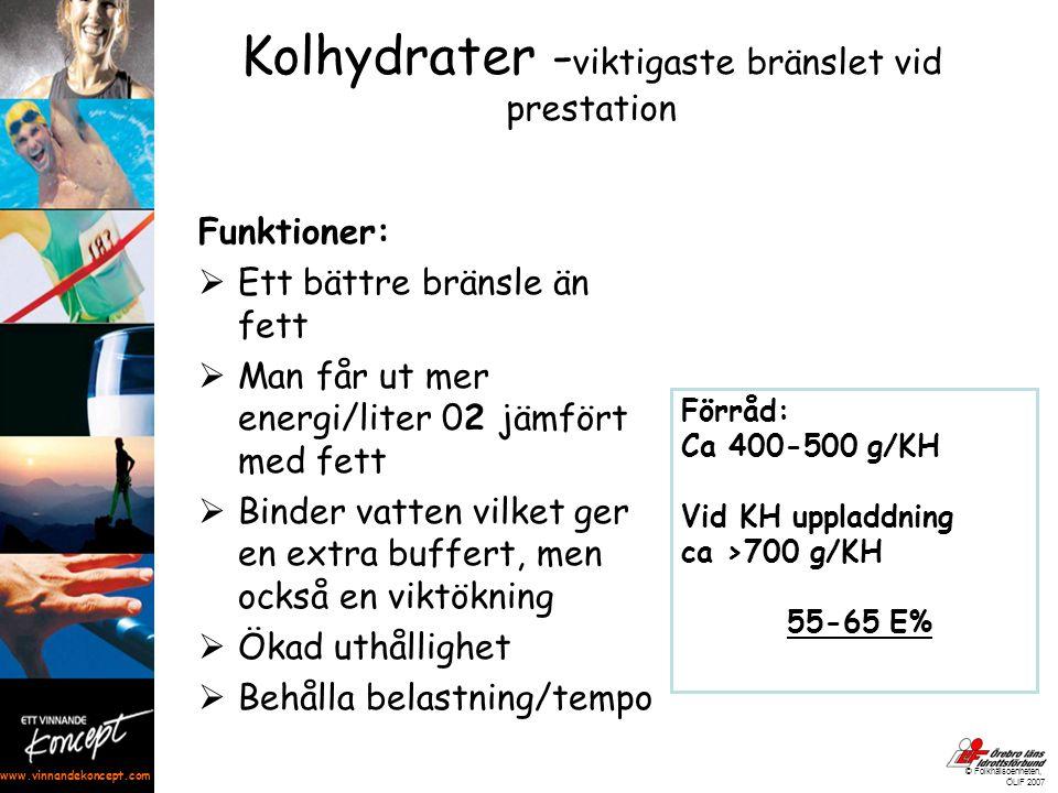 www.vinnandekoncept.com © Folkhälsoenheten, ÖLIF 2007 Kolhydrater - viktigaste bränslet vid prestation Funktioner:  Ett bättre bränsle än fett  Man