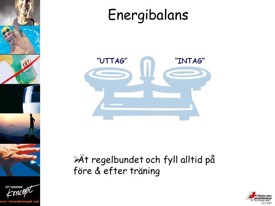 """www.vinnandekoncept.com © Folkhälsoenheten, ÖLIF 2007 Energibalans  Ät regelbundet och fyll alltid på före & efter träning """"UTTAG""""""""INTAG"""""""