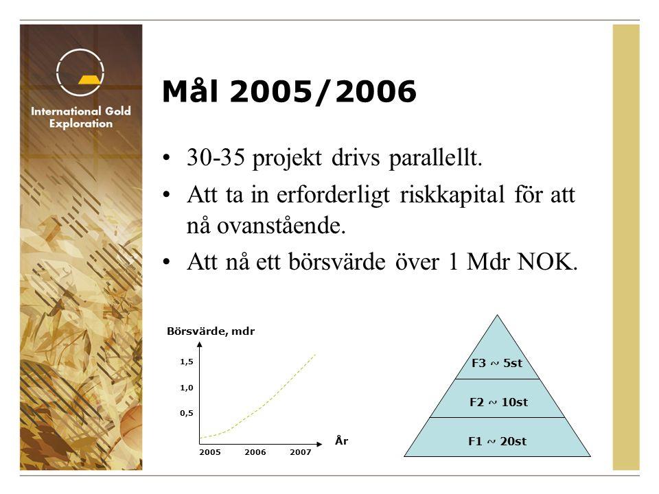 Mål 2005/2006 30-35 projekt drivs parallellt.