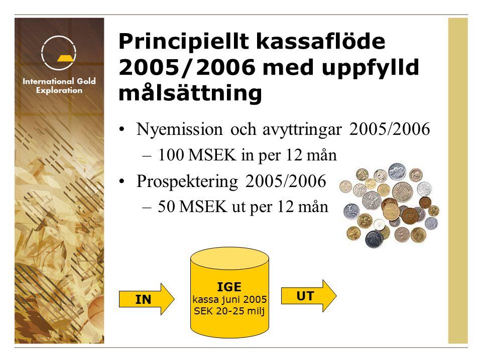 Principiellt kassaflöde 2005/2006 med uppfylld målsättning Nyemission och avyttringar 2005/2006 –100 MSEK in per 12 mån Prospektering 2005/2006 –50 MSEK ut per 12 mån IGE kassa juni 2005 SEK 20-25 milj UT IN