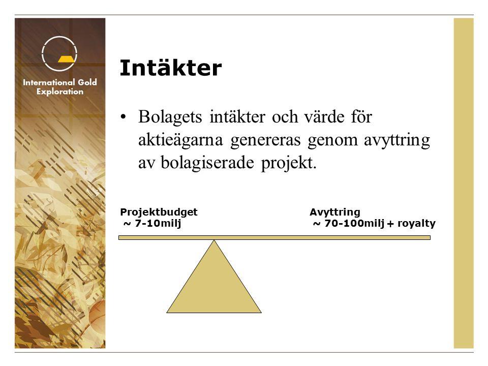 Intäkter Bolagets intäkter och värde för aktieägarna genereras genom avyttring av bolagiserade projekt.