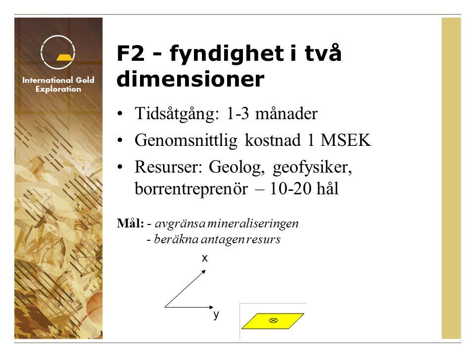 F3 - fyndighet i tre dimensioner Tidsåtgång: 3-6 månader Genomsnittlig kostnad 5 MSEK Resurser: Geolog, geofysiker, borrentreprenör – 20-50 hål Mål: - beräkna indikerad resurs - utför preliminär lönsamhetsstudie, +/- 20% noggrannhet x y z