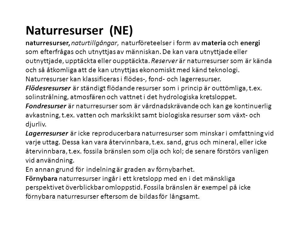 Naturresurser (NE) naturresurser, naturtillgångar, naturföreteelser i form av materia och energi som efterfrågas och utnyttjas av människan.