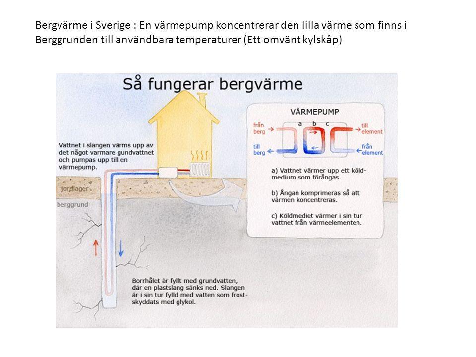Bergvärme i Sverige : En värmepump koncentrerar den lilla värme som finns i Berggrunden till användbara temperaturer (Ett omvänt kylskåp)