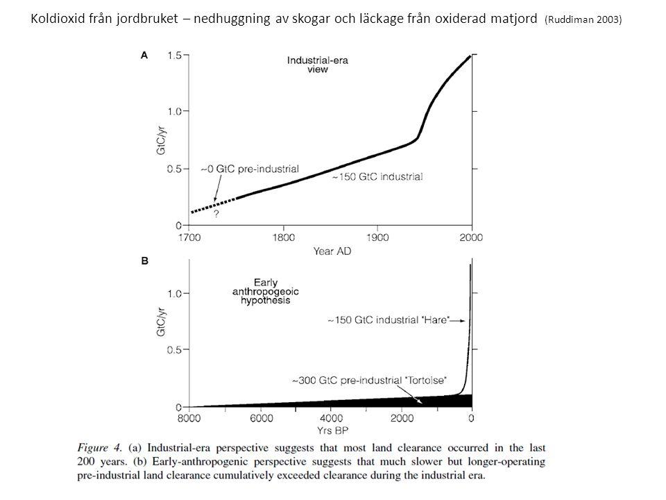 Koldioxid från jordbruket – nedhuggning av skogar och läckage från oxiderad matjord (Ruddiman 2003)