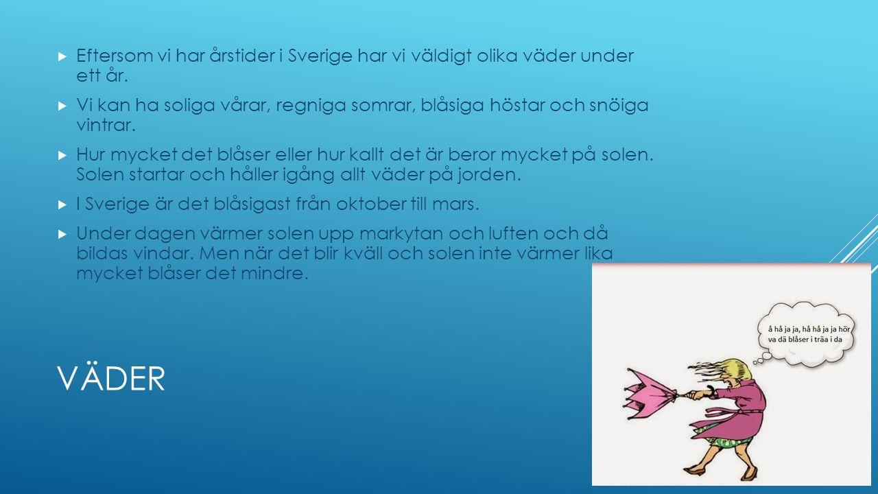 VÄDER  Eftersom vi har årstider i Sverige har vi väldigt olika väder under ett år.