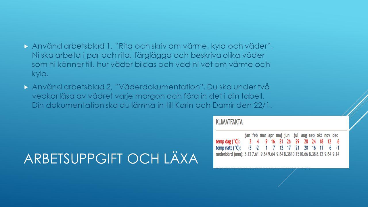 ARBETSUPPGIFT OCH LÄXA  Använd arbetsblad 1, Rita och skriv om värme, kyla och väder .