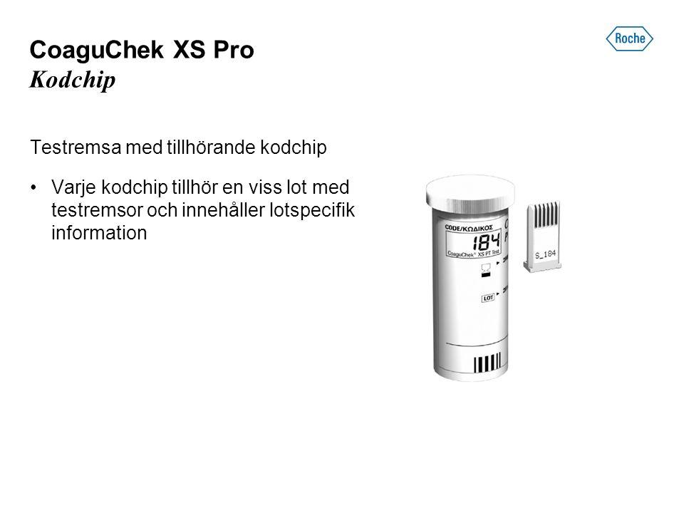 CoaguChek XS Pro Kodchip Testremsa med tillhörande kodchip Varje kodchip tillhör en viss lot med testremsor och innehåller lotspecifik information