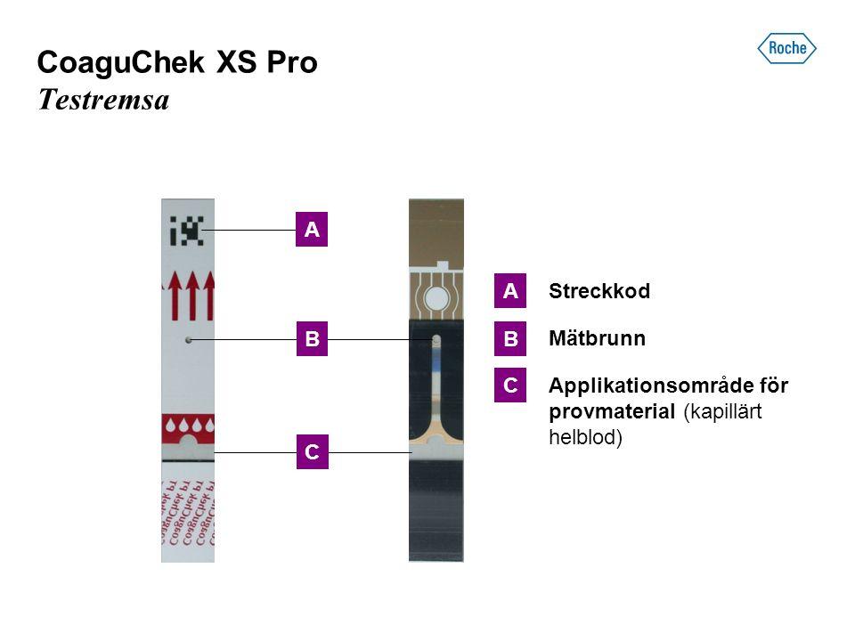 CoaguChek XS Pro Testremsa C B A C B A Streckkod Mätbrunn Applikationsområde för provmaterial (kapillärt helblod)