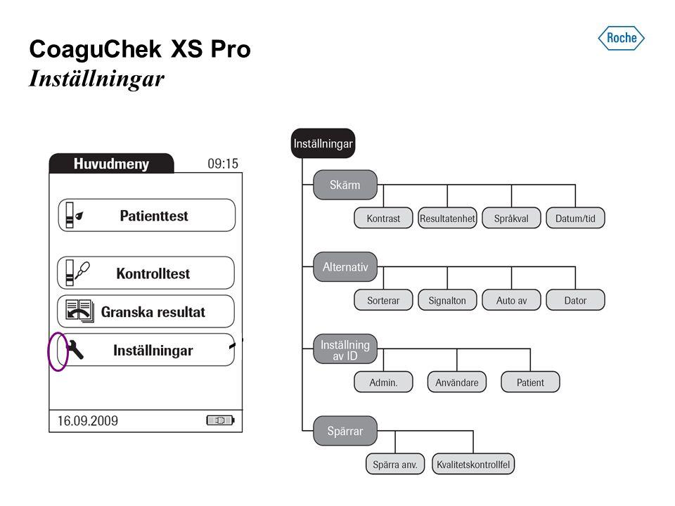 CoaguChek XS Pro Inställningar