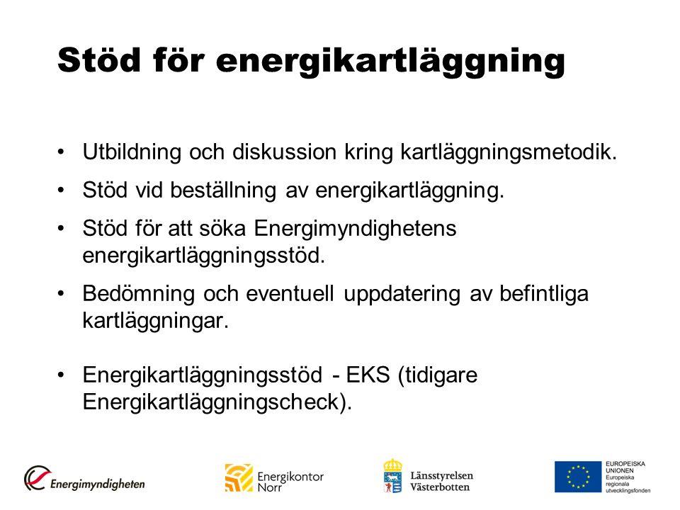Stöd för energikartläggning Utbildning och diskussion kring kartläggningsmetodik. Stöd vid beställning av energikartläggning. Stöd för att söka Energi