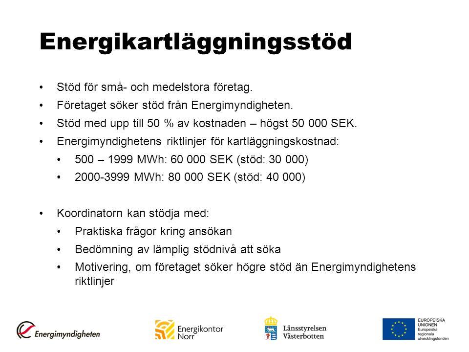 Energikartläggningsstöd Stöd för små- och medelstora företag. Företaget söker stöd från Energimyndigheten. Stöd med upp till 50 % av kostnaden – högst