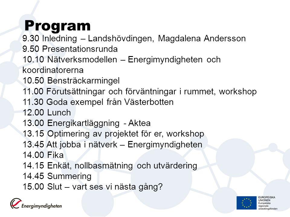 Program 9.30 Inledning – Landshövdingen, Magdalena Andersson 9.50 Presentationsrunda 10.10 Nätverksmodellen – Energimyndigheten och koordinatorerna 10