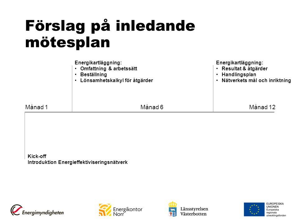 Förslag på inledande mötesplan Månad 1 Månad 12 Månad 6 Kick-off Introduktion Energieffektiviseringsnätverk Energikartläggning: Omfattning & arbetssät