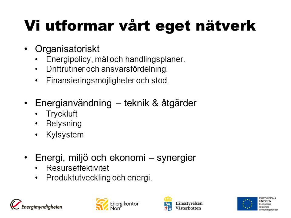 Vi utformar vårt eget nätverk Organisatoriskt Energipolicy, mål och handlingsplaner. Driftrutiner och ansvarsfördelning. Finansieringsmöjligheter och