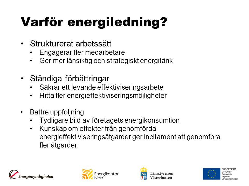 Varför energiledning? Strukturerat arbetssätt Engagerar fler medarbetare Ger mer lånsiktig och strategiskt energitänk Ständiga förbättringar Säkrar et