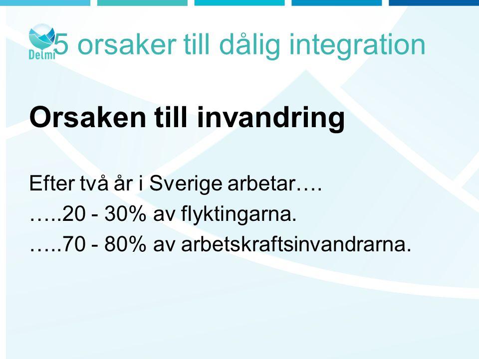5 orsaker till dålig integration Orsaken till invandring Efter två år i Sverige arbetar….