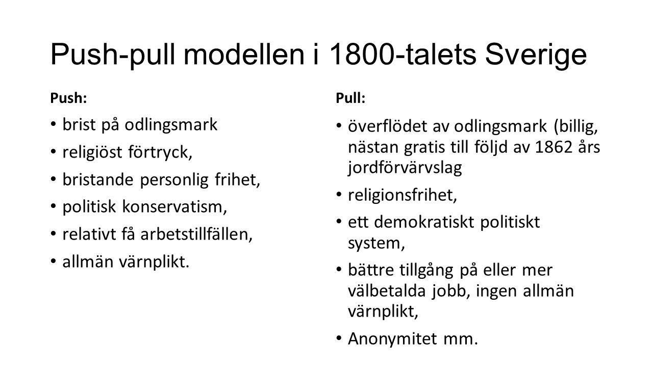 Push-pull modellen i 1800-talets Sverige Push: brist på odlingsmark religiöst förtryck, bristande personlig frihet, politisk konservatism, relativt få arbetstillfällen, allmän värnplikt.