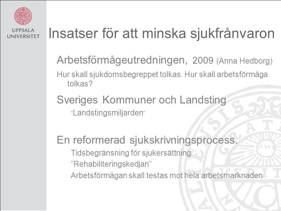 Insatser för att minska sjukfrånvaron Arbetsförmågeutredningen, 2009 (Anna Hedborg) Hur skall sjukdomsbegreppet tolkas. Hur skall arbetsförmåga tolkas