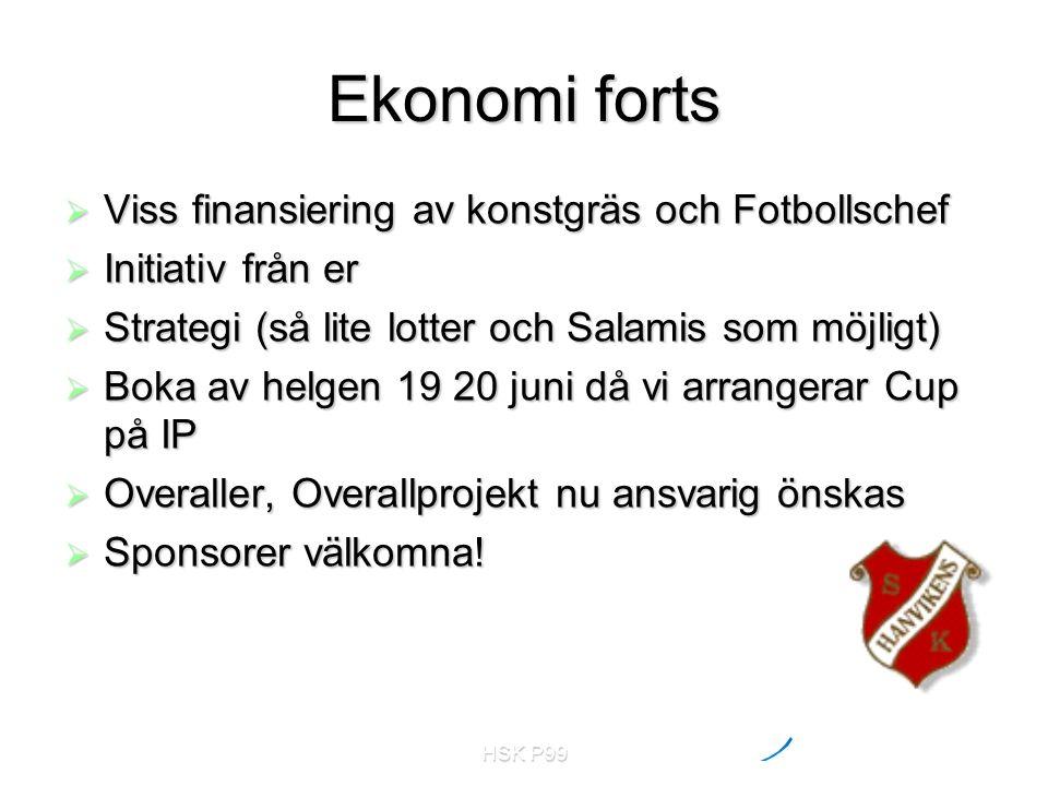 HSK P99 Ekonomi forts  Viss finansiering av konstgräs och Fotbollschef  Initiativ från er  Strategi (så lite lotter och Salamis som möjligt)  Boka