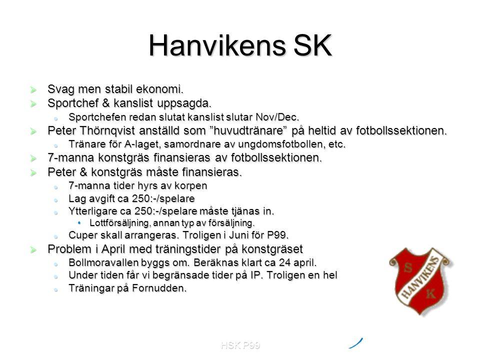 HSK P99 Hanvikens SK  Svag men stabil ekonomi.  Sportchef & kanslist uppsagda. Sportchefen redan slutat kanslist slutar Nov/Dec. Sportchefen redan s