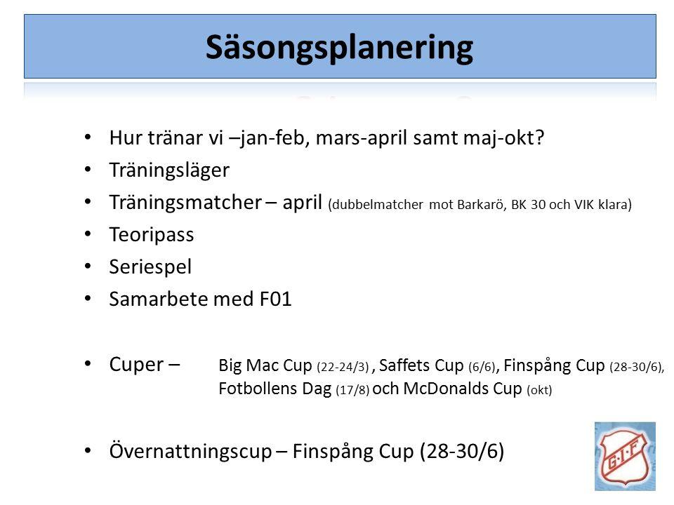 Säsongsplanering Hur tränar vi –jan-feb, mars-april samt maj-okt? Träningsläger Träningsmatcher – april (dubbelmatcher mot Barkarö, BK 30 och VIK klar