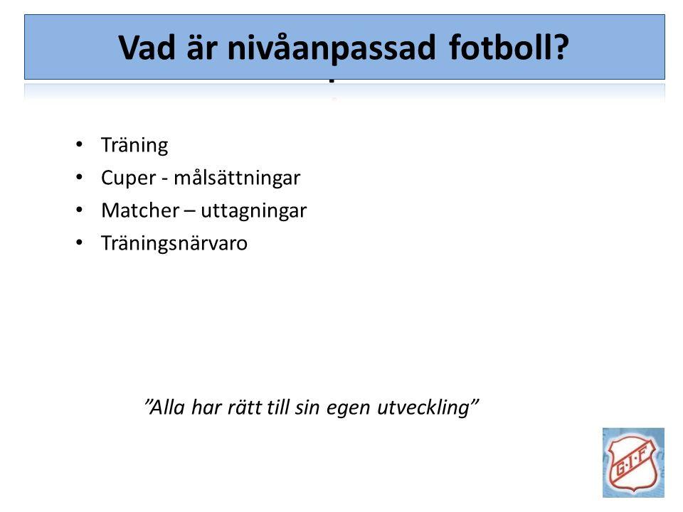 """Vad är nivåanpassad fotboll? Träning Cuper - målsättningar Matcher – uttagningar Träningsnärvaro """"Alla har rätt till sin egen utveckling"""""""