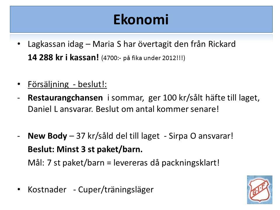 Ekonomi Lagkassan idag – Maria S har övertagit den från Rickard 14 288 kr i kassan! (4700:- på fika under 2012!!!) Försäljning - beslut!: -Restaurangc