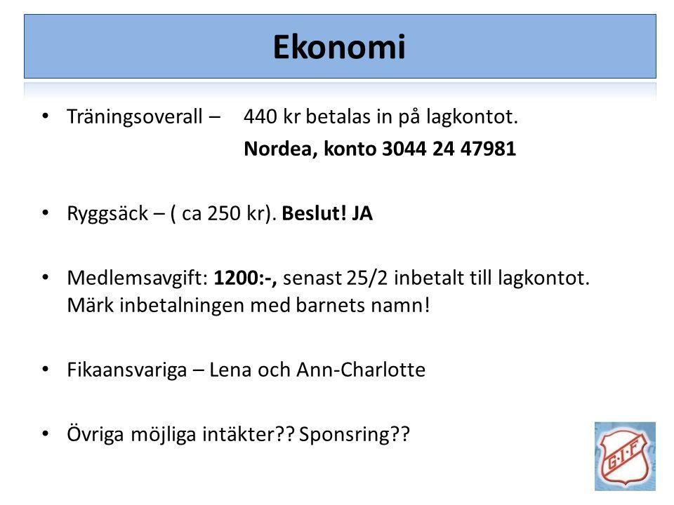 Träningsoverall – 440 kr betalas in på lagkontot. Nordea, konto 3044 24 47981 Ryggsäck – ( ca 250 kr). Beslut! JA Medlemsavgift: 1200:-, senast 25/2 i
