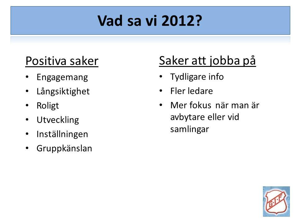 Vision/Målsättning Diskutera med varandra – 3 och 3: Vad har varit bra under 2012.