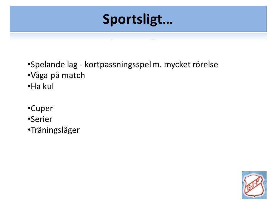 Sportsligt Spelande lag - kortpassningsspel m. mycket rörelse Våga på match Ha kul Cuper Serier Träningsläger